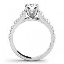 Graduating Diamond Twisted Engagement Ring 14k White Gold (0.38ct)