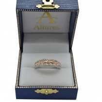 Graduating Diamond Twisted Wedding Band 14k Two Tone Gold (0.38ct)