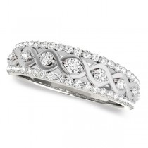 Graduating Diamond Twisted Wedding Band 14k White Gold (0.38ct)