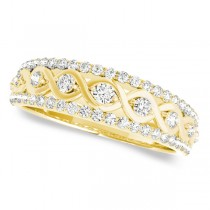 Graduating Diamond Twisted Wedding Band 14k Yellow Gold (0.38ct)