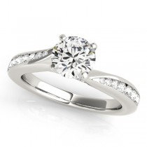 Diamond Single Row Swirl Prong Engagement Ring 14k White Gold (1.28ct)