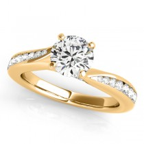 Diamond Single Row Swirl Prong Engagement Ring 18k Yellow Gold (1.28ct)