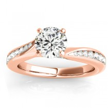 Graduated Diamond Swirl Engagement Ring 18k Rose Gold (0.28ct)