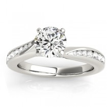 Graduated Diamond Swirl Engagement Ring 18k White Gold (0.28ct)
