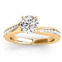 Graduated Diamond Swirl Engagement Ring 18k Yellow Gold (0.28ct)