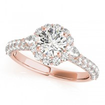 Flower Halo Pear Accented Diamond Engagement Ring 18k Rose Gold 1.75ct