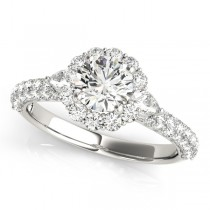 Flower Halo Pear Accents Diamond Engagement Ring 18k White Gold (1.75ct)