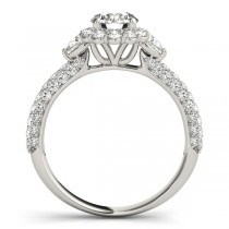 Flower Halo Pear Accented Diamond Engagement Ring Platinum (1.75ct)