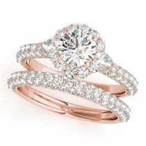Pave' Flower Halo Pear Cut Diamond Bridal Set 14k Rose Gold (2.50ct)
