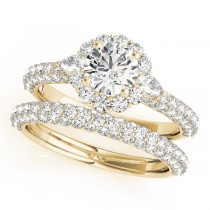 Pave' Flower Halo Pear Diamond Bridal Set 14k Yellow Gold 2.50ct