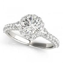 Pave' Flower Halo Pear Accented Diamond Bridal Set Platinum (2.50ct)
