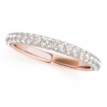 Triple Row Micro-pave' Diamond Wedding Band 14k Rose Gold (0.75ct)