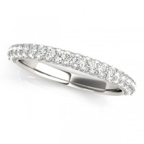 Triple Row Micro-pave' Diamond Wedding Band 14k White Gold (0.75ct)