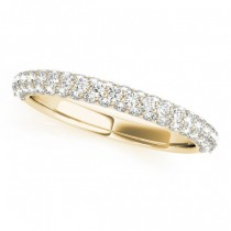 Triple Row Micro-pave' Diamond Wedding Band 14k Yellow Gold (0.75ct)