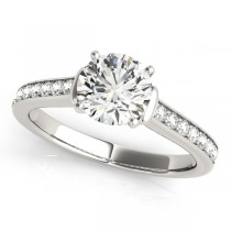 Diamond Accent Engagement Ring 18k White Gold (0.72ct)