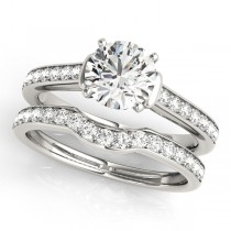 Diamond Accent Bridal Set 14k White Gold (0.98ct)