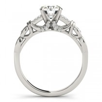 Diamond Antique Style Engagement Ring Setting 14k White Gold (0.14ct)