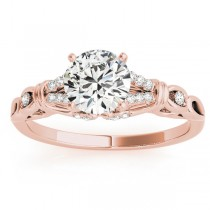 Diamond Antique Style Engagement Ring Setting 18k Rose Gold (0.14ct)
