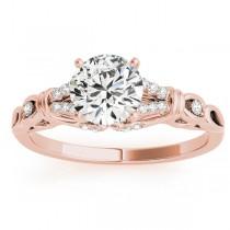 Diamond Antique Style Engagement Ring Setting 18k Rose Gold (0.14ct)