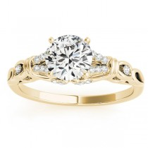 Diamond Antique Style Engagement Ring Setting 18k Yellow Gold (0.14ct)