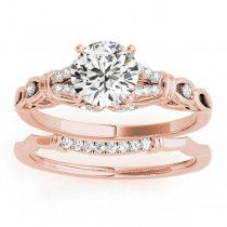 Diamond Antique Style Bridal Set Setting 14k Rose Gold (0.18ct)