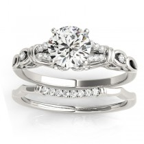 Diamond Antique Style Bridal Set Setting 14k White Gold (0.18ct)
