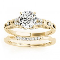Diamond Antique Style Bridal Set Setting 18k Yellow Gold (0.18ct)
