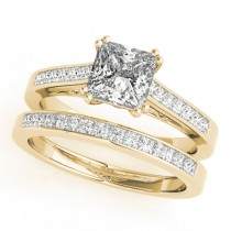 Double Prong Princess-Cut Diamond Bridal Set 14k Yellow Gold (1.50ct)