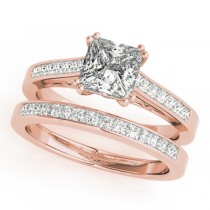 Double Prong Princess-Cut Diamond Bridal Set 18k Rose Gold (1.50ct)