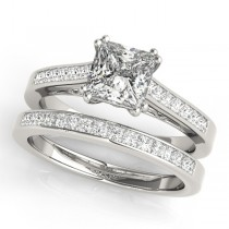 Double Prong Princess-Cut Diamond Bridal Set Palladium (1.50ct)