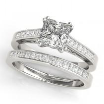 Double Prong Princess-Cut Diamond Bridal Set Palladium (1.50ct)