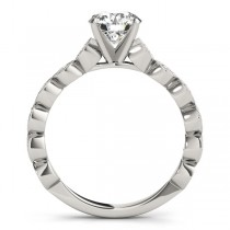 Vintage Style Diamond Engagement Ring Setting 14k White Gold (0.40ct)