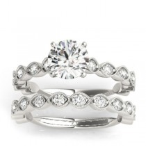 Diamond Bridal Set Setting 14k White Gold (0.80ct)