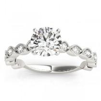 Vintage Marquise Diamond Bridal Set Setting 14k White Gold (0.80ct)