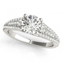 Diamond Three Row Engagement Ring 18k White Gold (1.33ct)