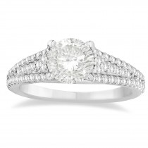 Diamond Three Row Engagement Ring 18k White Gold (0.33ct)