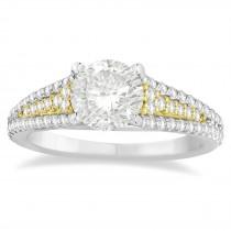 Diamond Three Row Engagement Ring 18k Two Tone Gold (0.33ct)