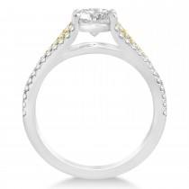 Diamond Three Row Engagement Ring 18k Two Tone Gold (0.33ct)
