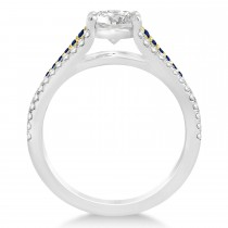 Blue Sapphire, Diamond Engagement Ring 14k Two Tone Yellow Gold 1.33ct