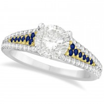 Blue Sapphire, Diamond Engagement Ring 18k Two Tone Yellow Gold 1.33ct