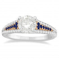 Blue Sapphire & Diamond Engagement Ring 18k Rose Gold (0.33ct)
