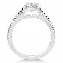 Blue Sapphire & Diamond Three Row Engagement Ring Palladium (0.33ct)