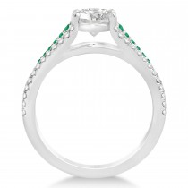 Emerald & Diamond Engagement Ring 14k White Gold (1.33ct)
