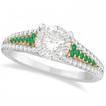 Emerald & Diamond Engagement Ring 18k Two Tone Rose Gold (1.33ct)