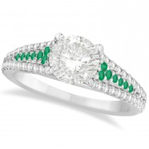 Emerald & Diamond Engagement Ring 18k White Gold (1.33ct)