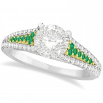 Emerald & Diamond Engagement Ring 18k Two Tone Yellow Gold (1.33ct)