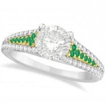 Emerald & Diamond Engagement Ring 18k Two Tone Yellow Gold (1.33ct)