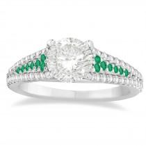 Emerald & Diamond Engagement Ring 14k White Gold (0.33ct)