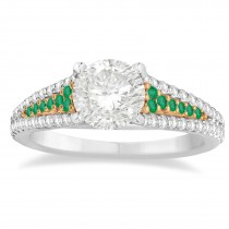 Emerald & Diamond Engagement Ring 14k Rose Gold (0.33ct)