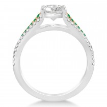 Emerald & Diamond Engagement Ring 14k Rose Gold (0.33ct)
